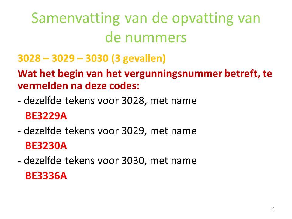 Samenvatting van de opvatting van de nummers 3028 – 3029 – 3030 (3 gevallen) Wat het begin van het vergunningsnummer betreft, te vermelden na deze cod
