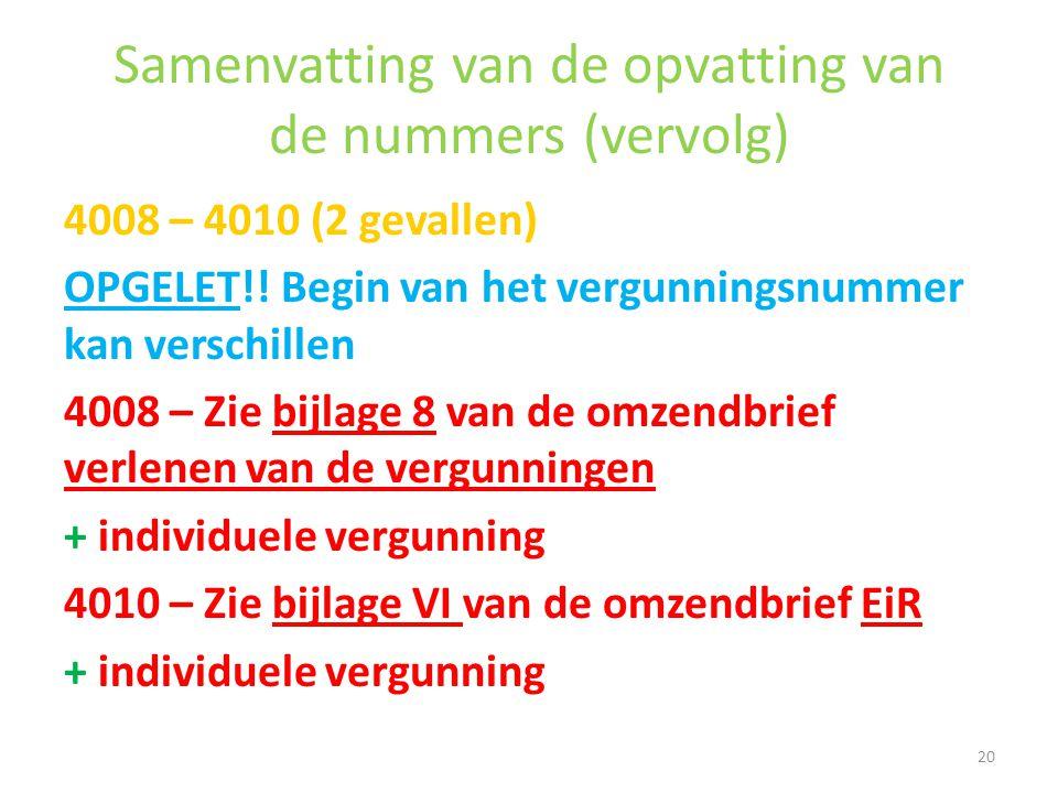 Samenvatting van de opvatting van de nummers (vervolg) 4008 – 4010 (2 gevallen) OPGELET!! Begin van het vergunningsnummer kan verschillen 4008 – Zie b