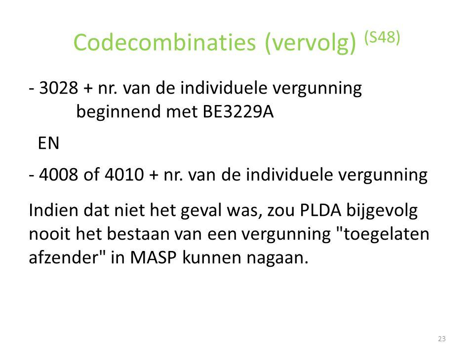Codecombinaties (vervolg) (S48) - 3028 + nr. van de individuele vergunning beginnend met BE3229A EN - 4008 of 4010 + nr. van de individuele vergunning