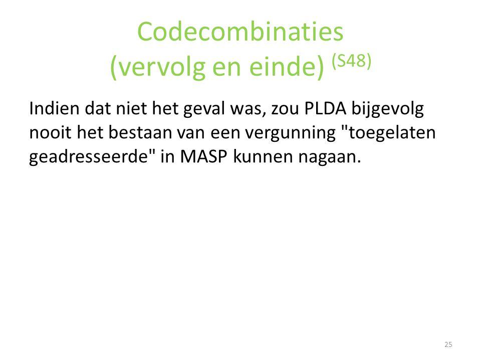 Codecombinaties (vervolg en einde) (S48) Indien dat niet het geval was, zou PLDA bijgevolg nooit het bestaan van een vergunning
