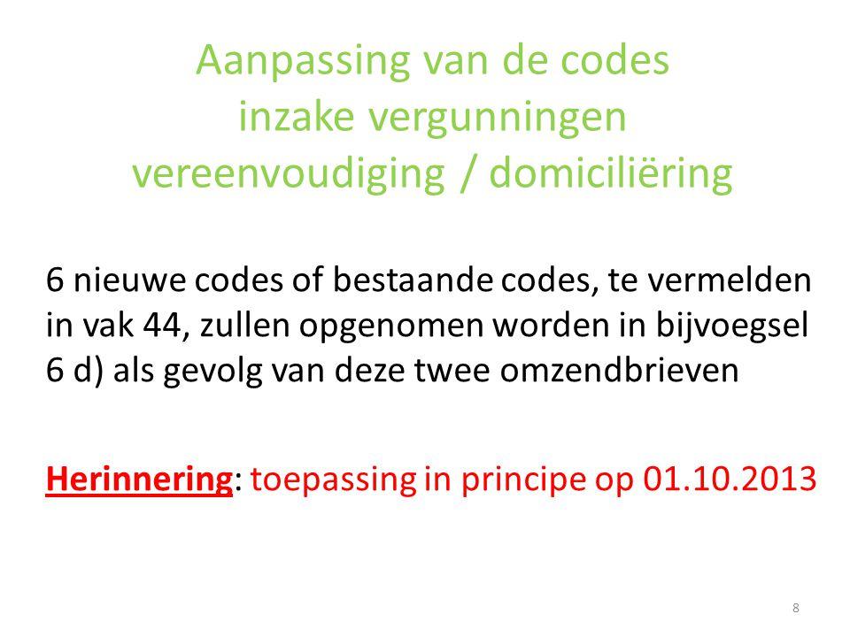 Aanpassing van de codes inzake vergunningen vereenvoudiging / domiciliëring 6 nieuwe codes of bestaande codes, te vermelden in vak 44, zullen opgenome