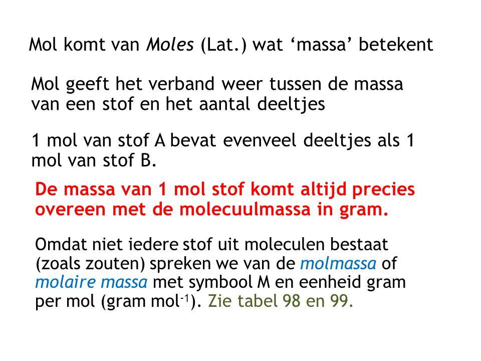 Mol komt van Moles (Lat.) wat 'massa' betekent Mol geeft het verband weer tussen de massa van een stof en het aantal deeltjes 1 mol van stof A bevat e