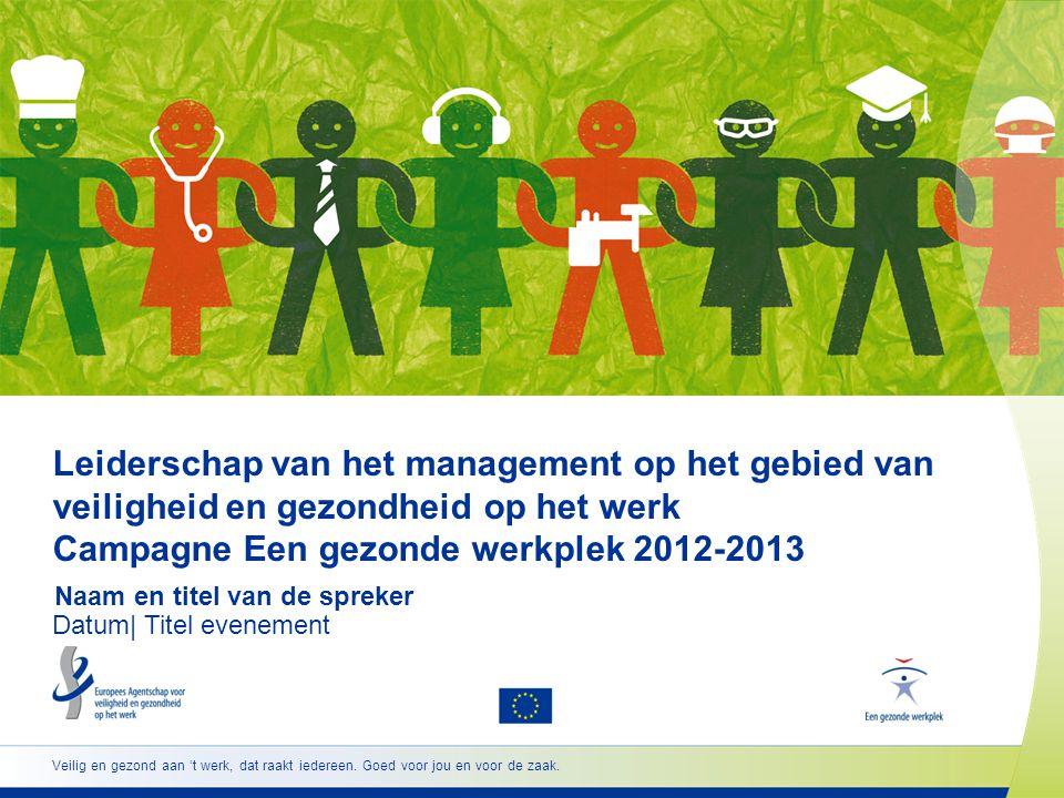 www.healthy-workplaces.eu •Start van de campagne 18 april 2012 •Europese Weken voor veiligheid en gezondheid op het werk oktober 2012 en oktober 2013 •Uitreiking Europese Awardsapril 2013 voor goede praktijken •Top 'Een gezonde werkplek' november 2013 22 Belangrijke data