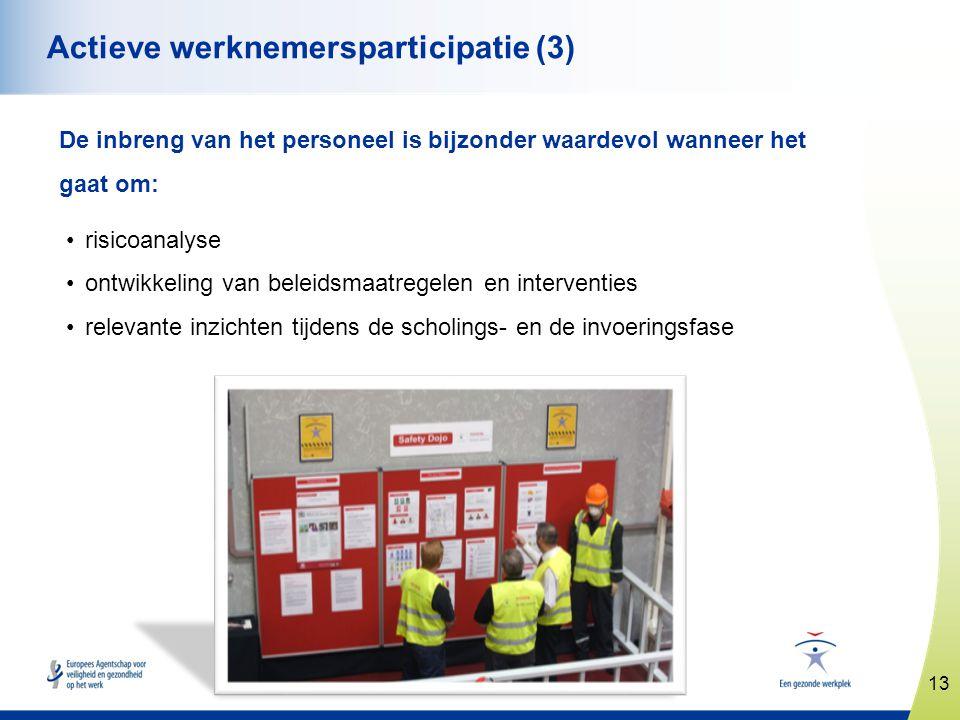13 www.healthy-workplaces.eu Actieve werknemersparticipatie (3) De inbreng van het personeel is bijzonder waardevol wanneer het gaat om: •risicoanalys