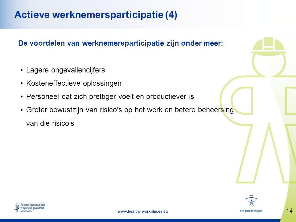 14 www.healthy-workplaces.eu Actieve werknemersparticipatie (4) De voordelen van werknemersparticipatie zijn onder meer: •Lagere ongevallencijfers •Ko