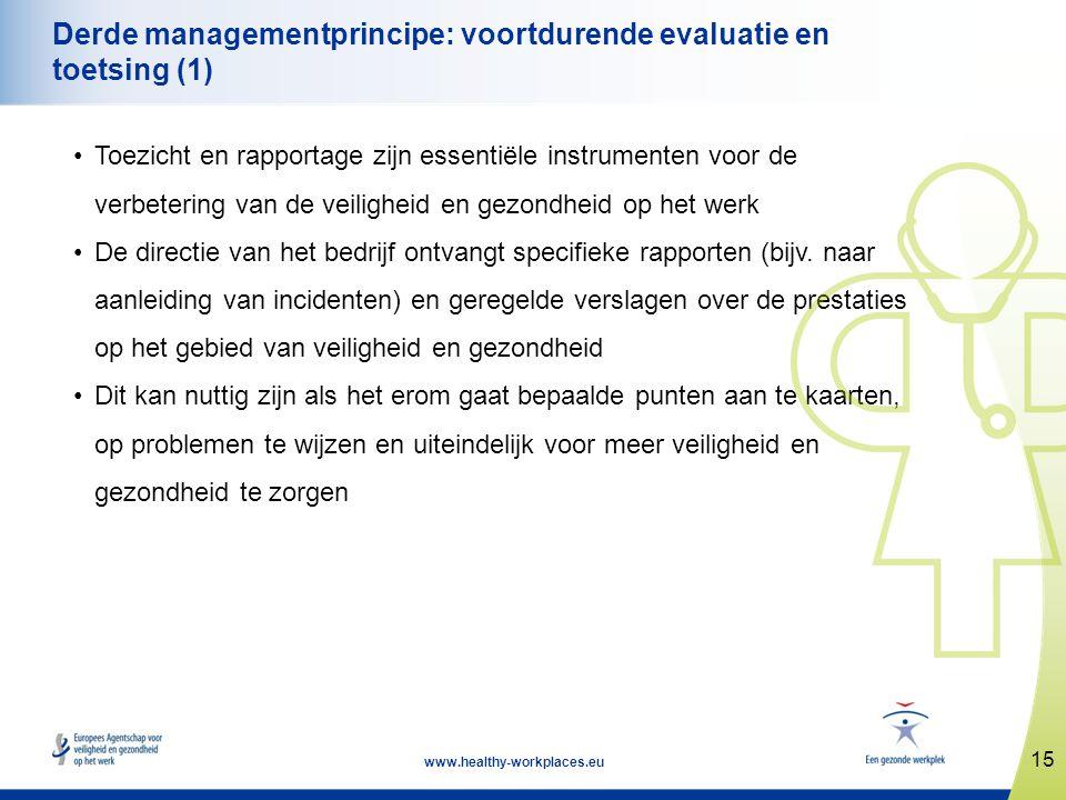 15 www.healthy-workplaces.eu Derde managementprincipe: voortdurende evaluatie en toetsing (1) •Toezicht en rapportage zijn essentiële instrumenten voo