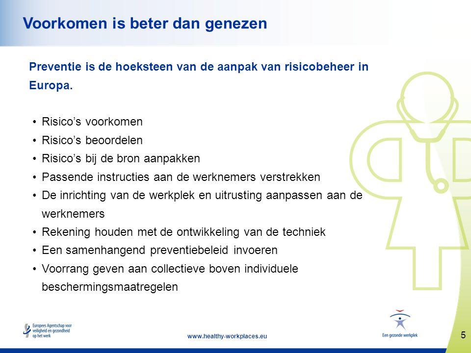 5 www.healthy-workplaces.eu Voorkomen is beter dan genezen Preventie is de hoeksteen van de aanpak van risicobeheer in Europa. •Risico's voorkomen •Ri