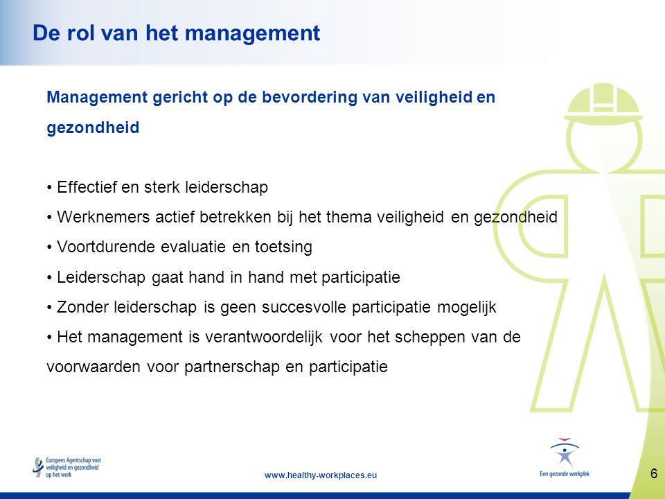 6 www.healthy-workplaces.eu De rol van het management Management gericht op de bevordering van veiligheid en gezondheid • Effectief en sterk leidersch