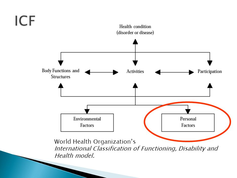 World Health Organization's International Classification of Functioning, Disability and Health model.