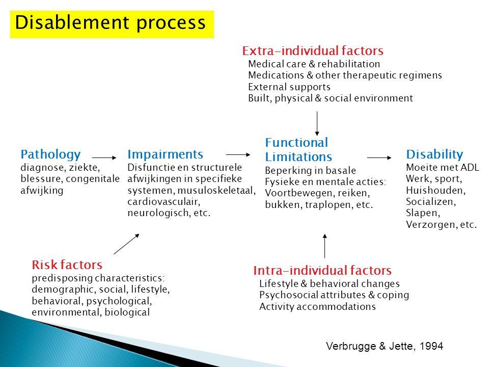 Pathology diagnose, ziekte, blessure, congenitale afwijking Impairments Disfunctie en structurele afwijkingen in specifieke systemen, musuloskeletaal,