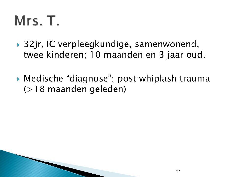 """27  32jr, IC verpleegkundige, samenwonend, twee kinderen; 10 maanden en 3 jaar oud.  Medische """"diagnose"""": post whiplash trauma (>18 maanden geleden)"""