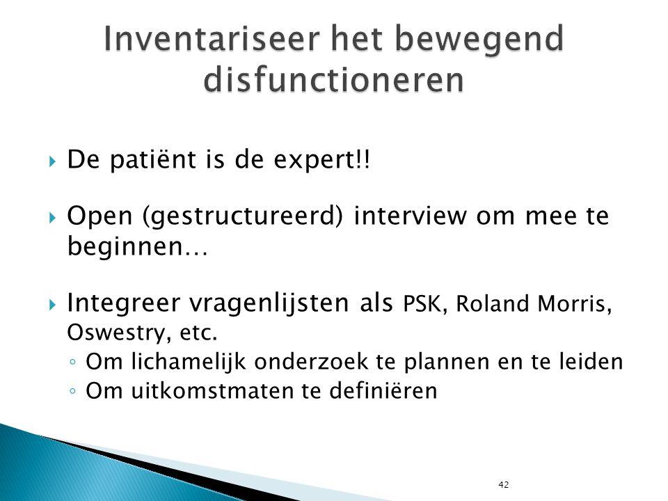 42  De patiënt is de expert!!  Open (gestructureerd) interview om mee te beginnen…  Integreer vragenlijsten als PSK, Roland Morris, Oswestry, etc.