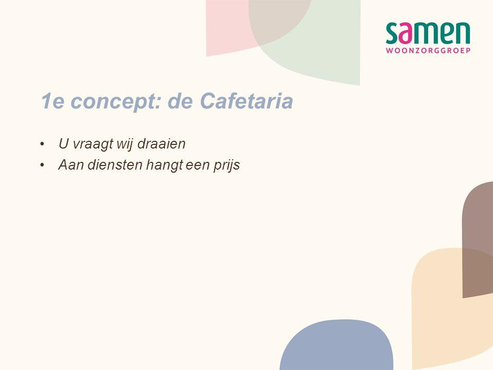 1e concept: de Cafetaria •U vraagt wij draaien •Aan diensten hangt een prijs