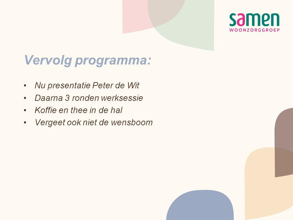 Vervolg programma: •Nu presentatie Peter de Wit •Daarna 3 ronden werksessie •Koffie en thee in de hal •Vergeet ook niet de wensboom