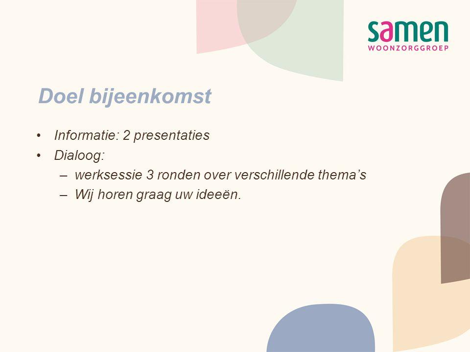 Doel bijeenkomst •Informatie: 2 presentaties •Dialoog: –werksessie 3 ronden over verschillende thema's –Wij horen graag uw ideeën.