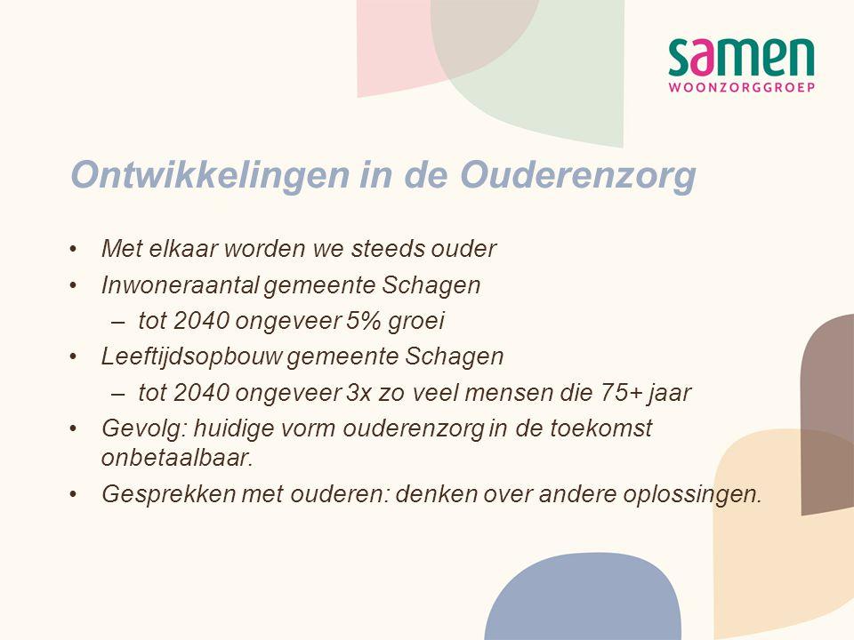 Ontwikkelingen in de Ouderenzorg •Met elkaar worden we steeds ouder •Inwoneraantal gemeente Schagen –tot 2040 ongeveer 5% groei •Leeftijdsopbouw gemee