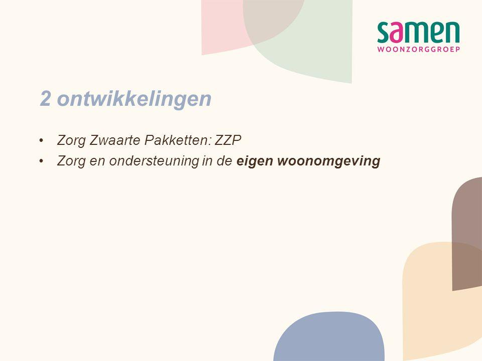 2 ontwikkelingen •Zorg Zwaarte Pakketten: ZZP •Zorg en ondersteuning in de eigen woonomgeving