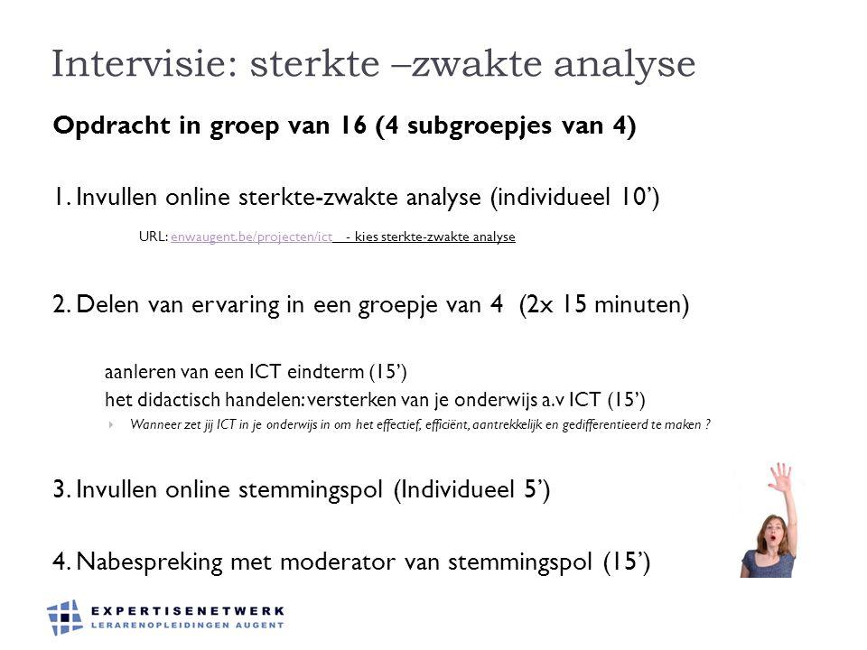 Intervisie: sterkte –zwakte analyse Opdracht in groep van 16 (4 subgroepjes van 4) 1. Invullen online sterkte-zwakte analyse (individueel 10') URL: en