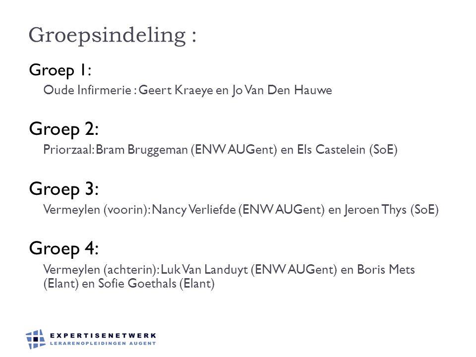 Groepsindeling : Groep 1: Oude Infirmerie : Geert Kraeye en Jo Van Den Hauwe Groep 2: Priorzaal: Bram Bruggeman (ENW AUGent) en Els Castelein (SoE) Gr