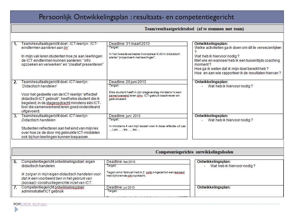 Persoonlijk Ontwikkelingsplan : resultaats- en competentiegericht POPE:\POP_RCM.docE:\POP_RCM.doc