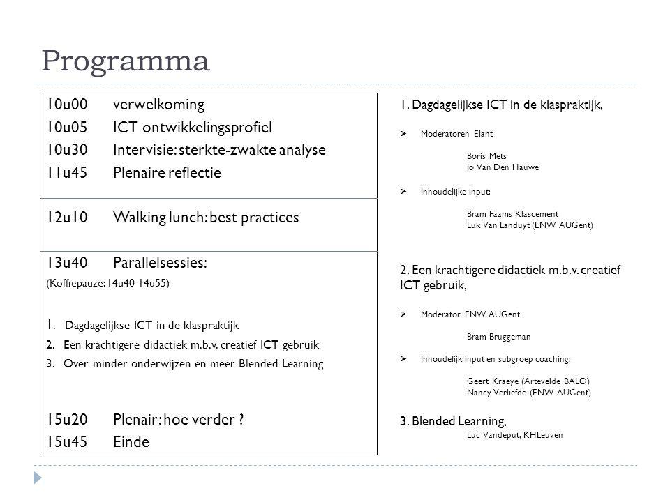 Programma 10u00 verwelkoming 10u05 ICT ontwikkelingsprofiel 10u30 Intervisie: sterkte-zwakte analyse 11u45Plenaire reflectie 12u10Walking lunch: best