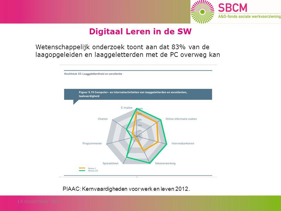 Digitaal Leren in de SW Wetenschappelijk onderzoek toont aan dat 83% van de laagopgeleiden en laaggeletterden met de PC overweg kan 14 november 2013 PIAAC: Kernvaardigheden voor werk en leven 2012.