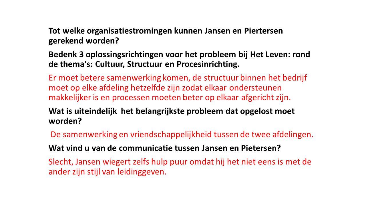 Tot welke organisatiestromingen kunnen Jansen en Piertersen gerekend worden? Bedenk 3 oplossingsrichtingen voor het probleem bij Het Leven: rond de th
