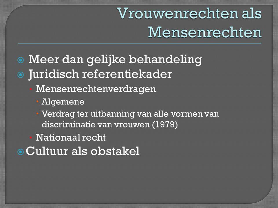 Meer dan gelijke behandeling  Juridisch referentiekader • Mensenrechtenverdragen  Algemene  Verdrag ter uitbanning van alle vormen van discrimina