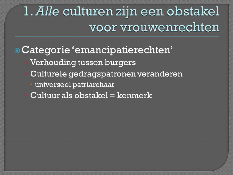  Categorie 'emancipatierechten' • Verhouding tussen burgers • Culturele gedragspatronen veranderen  universeel patriarchaat • Cultuur als obstakel =