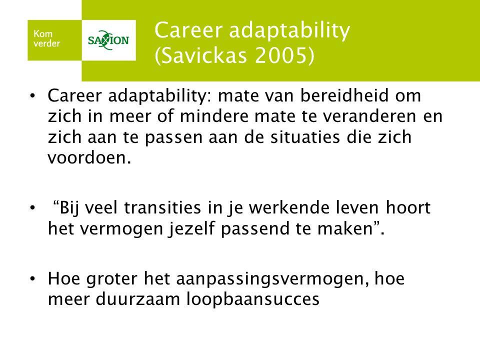 Career adaptability (Savickas 2005) • Career adaptability: mate van bereidheid om zich in meer of mindere mate te veranderen en zich aan te passen aan de situaties die zich voordoen.