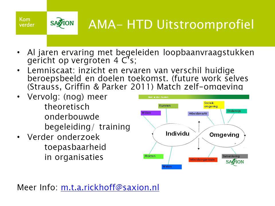 AMA- HTD Uitstroomprofiel • Al jaren ervaring met begeleiden loopbaanvraagstukken gericht op vergroten 4 C's; • Lemniscaat: inzicht en ervaren van verschil huidige beroepsbeeld en doelen toekomst.