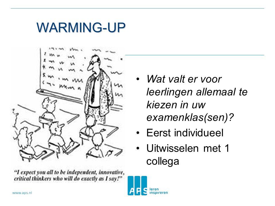 WARMING-UP • Wat valt er voor leerlingen allemaal te kiezen in uw examenklas(sen)? • Eerst individueel • Uitwisselen met 1 collega