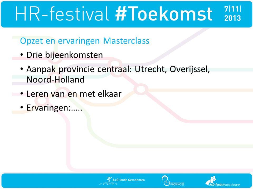 Opzet en ervaringen Masterclass • Drie bijeenkomsten • Aanpak provincie centraal: Utrecht, Overijssel, Noord-Holland • Leren van en met elkaar • Ervar
