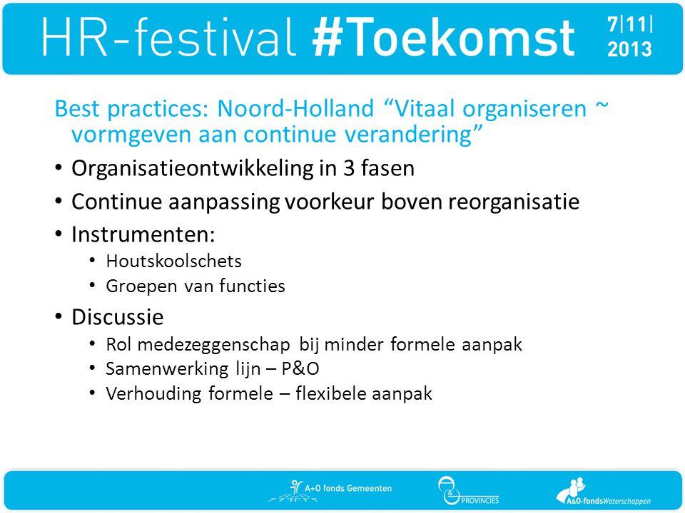 """Best practices: Noord-Holland """"Vitaal organiseren ~ vormgeven aan continue verandering"""" • Organisatieontwikkeling in 3 fasen • Continue aanpassing voo"""