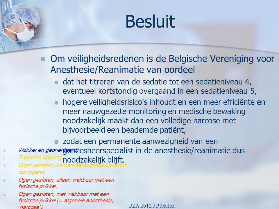 Besluit   Om veiligheidsredenen is de Belgische Vereniging voor Anesthesie/Reanimatie van oordeel   dat het titreren van de sedatie tot een sedati