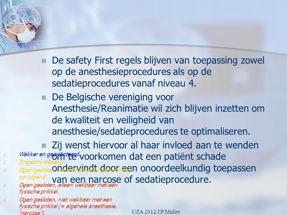   De safety First regels blijven van toepassing zowel op de anesthesieprocedures als op de sedatieprocedures vanaf niveau 4.   De Belgische vereni