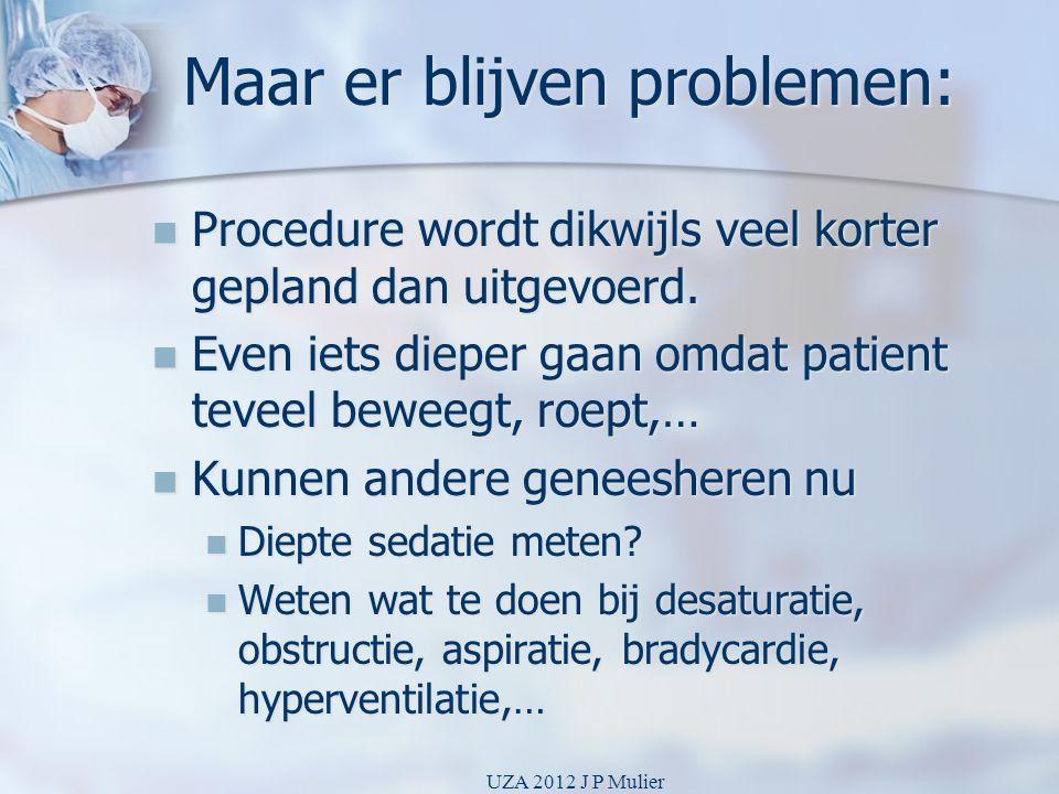 Maar er blijven problemen:  Procedure wordt dikwijls veel korter gepland dan uitgevoerd.  Even iets dieper gaan omdat patient teveel beweegt, roept,