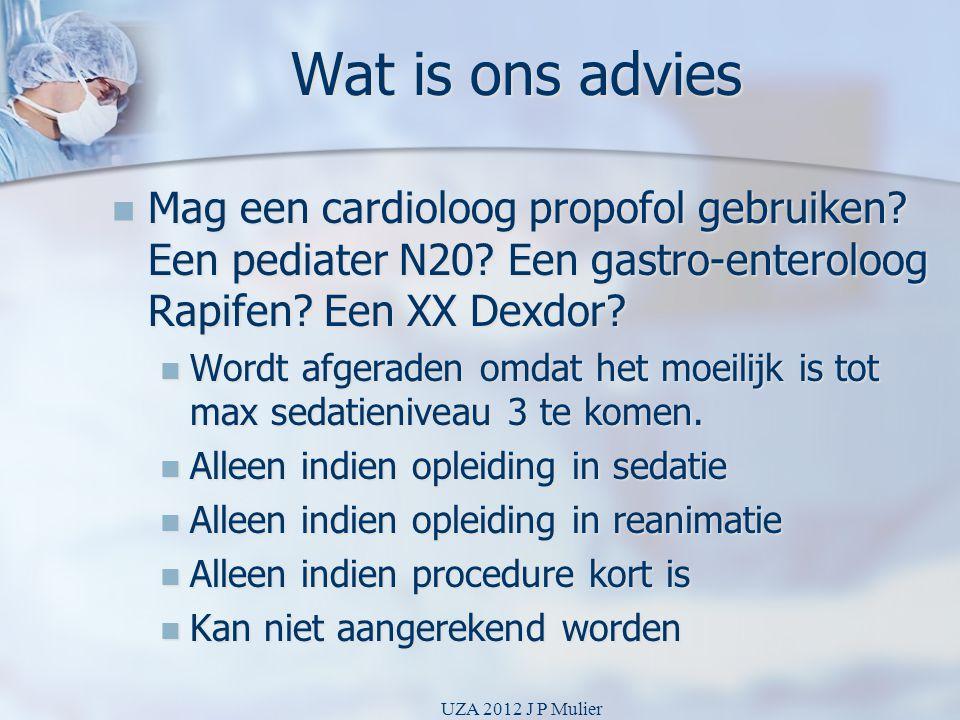 Wat is ons advies  Mag een cardioloog propofol gebruiken? Een pediater N20? Een gastro-enteroloog Rapifen? Een XX Dexdor?  Wordt afgeraden omdat het