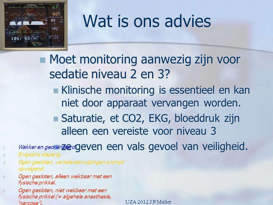Wat is ons advies  Moet monitoring aanwezig zijn voor sedatie niveau 2 en 3?  Klinische monitoring is essentieel en kan niet door apparaat vervangen