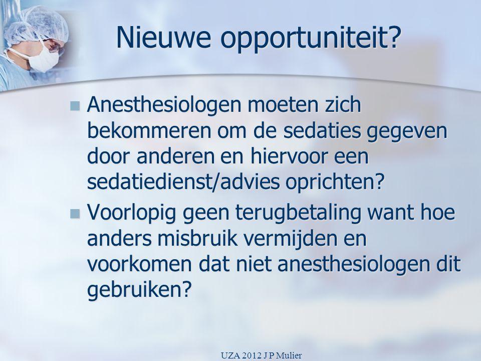Nieuwe opportuniteit?  Anesthesiologen moeten zich bekommeren om de sedaties gegeven door anderen en hiervoor een sedatiedienst/advies oprichten?  V