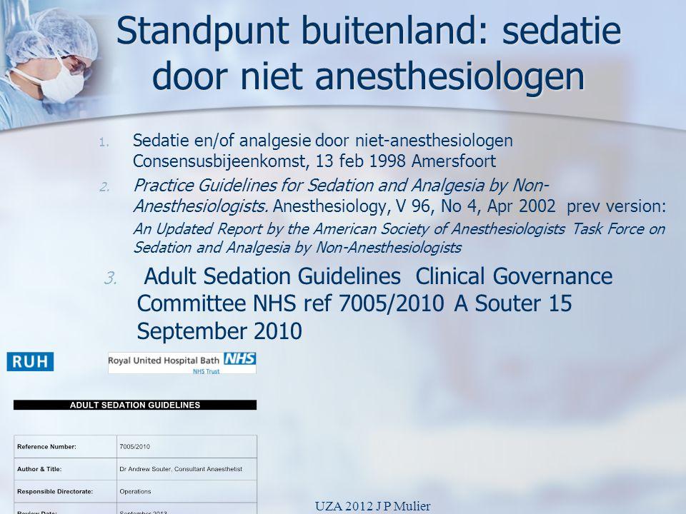 Standpunt buitenland: sedatie door niet anesthesiologen 1. 1. Sedatie en/of analgesie door niet-anesthesiologen Consensusbijeenkomst, 13 feb 1998 Amer