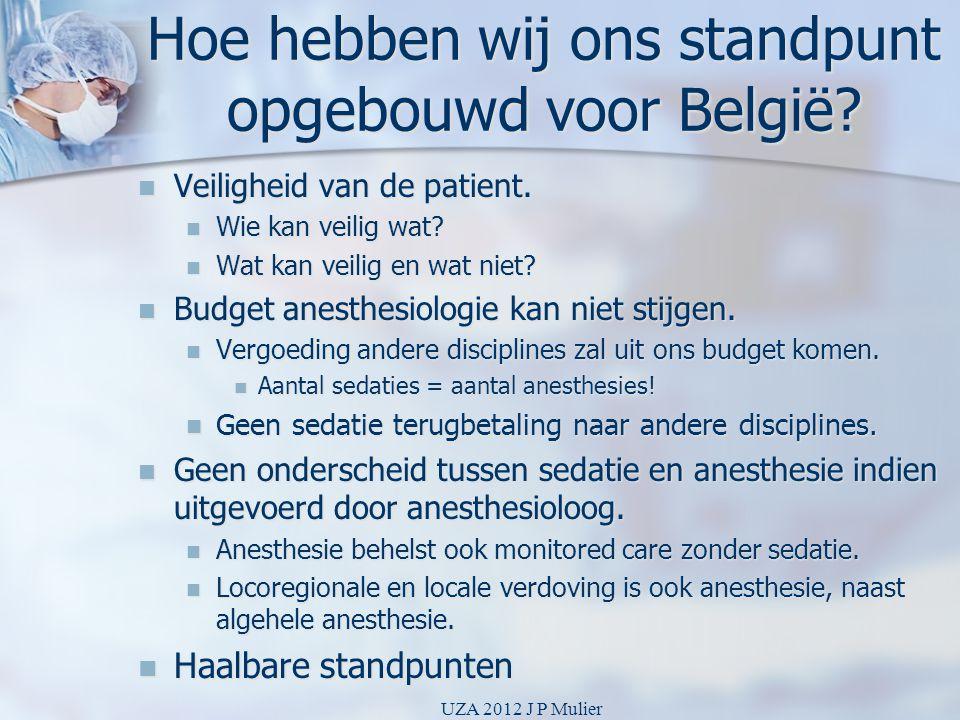 Hoe hebben wij ons standpunt opgebouwd voor België?  Veiligheid van de patient.  Wie kan veilig wat?  Wat kan veilig en wat niet?  Budget anesthes