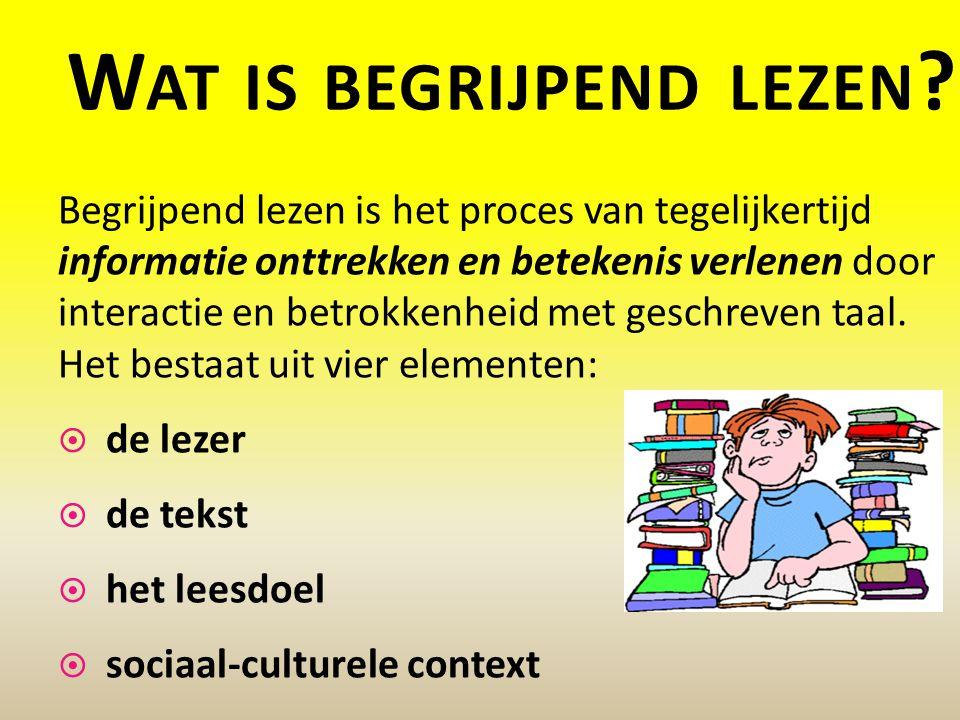 W AT IS BEGRIJPEND LEZEN ? Begrijpend lezen is het proces van tegelijkertijd informatie onttrekken en betekenis verlenen door interactie en betrokkenh