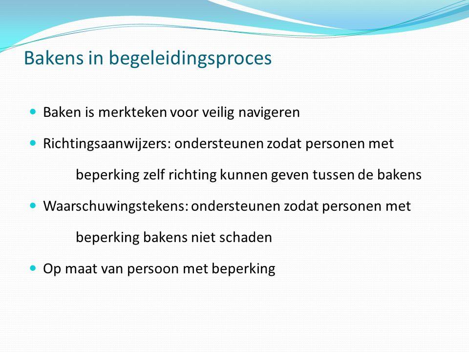 Bakens in begeleidingsproces  Baken is merkteken voor veilig navigeren  Richtingsaanwijzers: ondersteunen zodat personen met beperking zelf richting