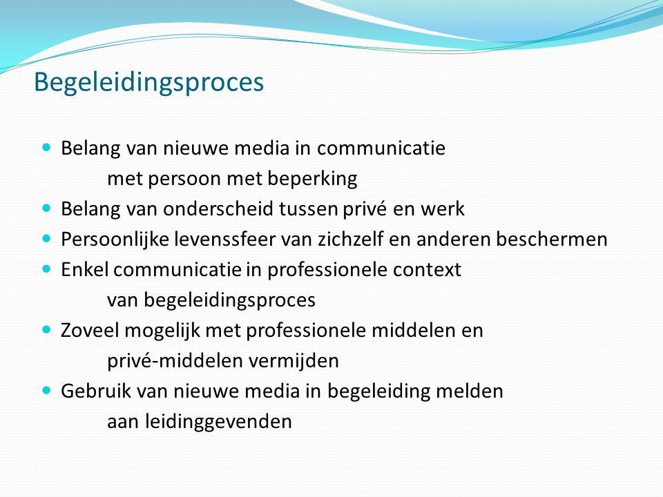 Begeleidingsproces  Belang van nieuwe media in communicatie met persoon met beperking  Belang van onderscheid tussen privé en werk  Persoonlijke le