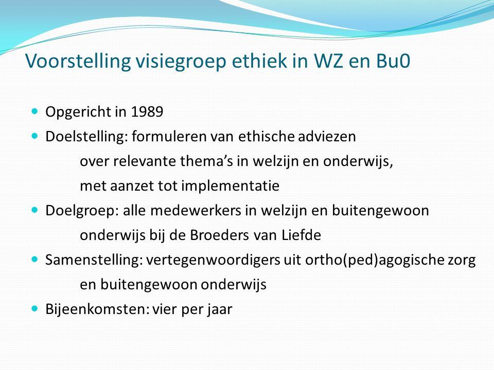 Voorstelling visiegroep ethiek in WZ en Bu0  Opgericht in 1989  Doelstelling: formuleren van ethische adviezen over relevante thema's in welzijn en