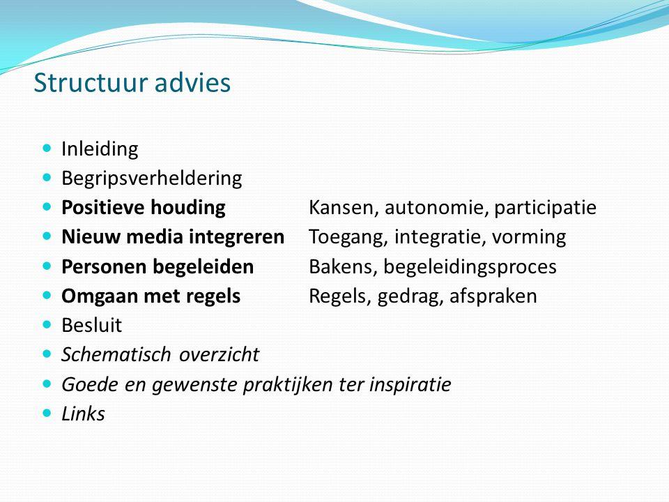 Structuur advies  Inleiding  Begripsverheldering  Positieve houdingKansen, autonomie, participatie  Nieuw media integreren Toegang, integratie, vo