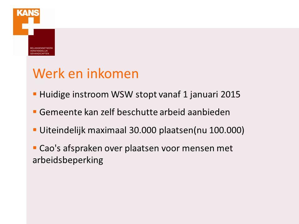 Werk en inkomen  Huidige instroom WSW stopt vanaf 1 januari 2015  Gemeente kan zelf beschutte arbeid aanbieden  Uiteindelijk maximaal 30.000 plaats
