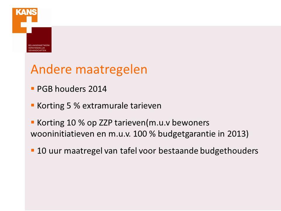 Andere maatregelen  PGB houders 2014  Korting 5 % extramurale tarieven  Korting 10 % op ZZP tarieven(m.u.v bewoners wooninitiatieven en m.u.v. 100
