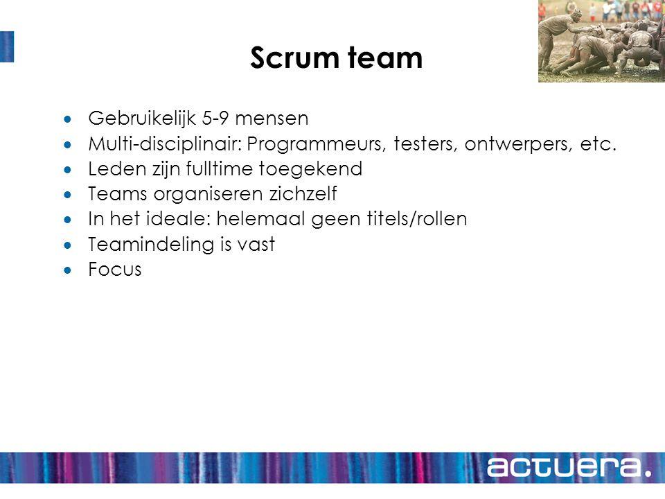 Scrum team  Gebruikelijk 5-9 mensen  Multi-disciplinair: Programmeurs, testers, ontwerpers, etc.  Leden zijn fulltime toegekend  Teams organiseren